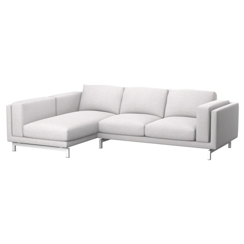 Ikea nockeby 2 seat sofa cover with left chaise longue for Chaise longue ikea uk